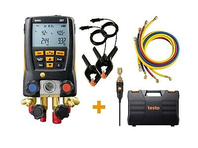 Testo 557 Refrigeration Digital Manifold Kit With 4 Hoses And Clamps0563 2557