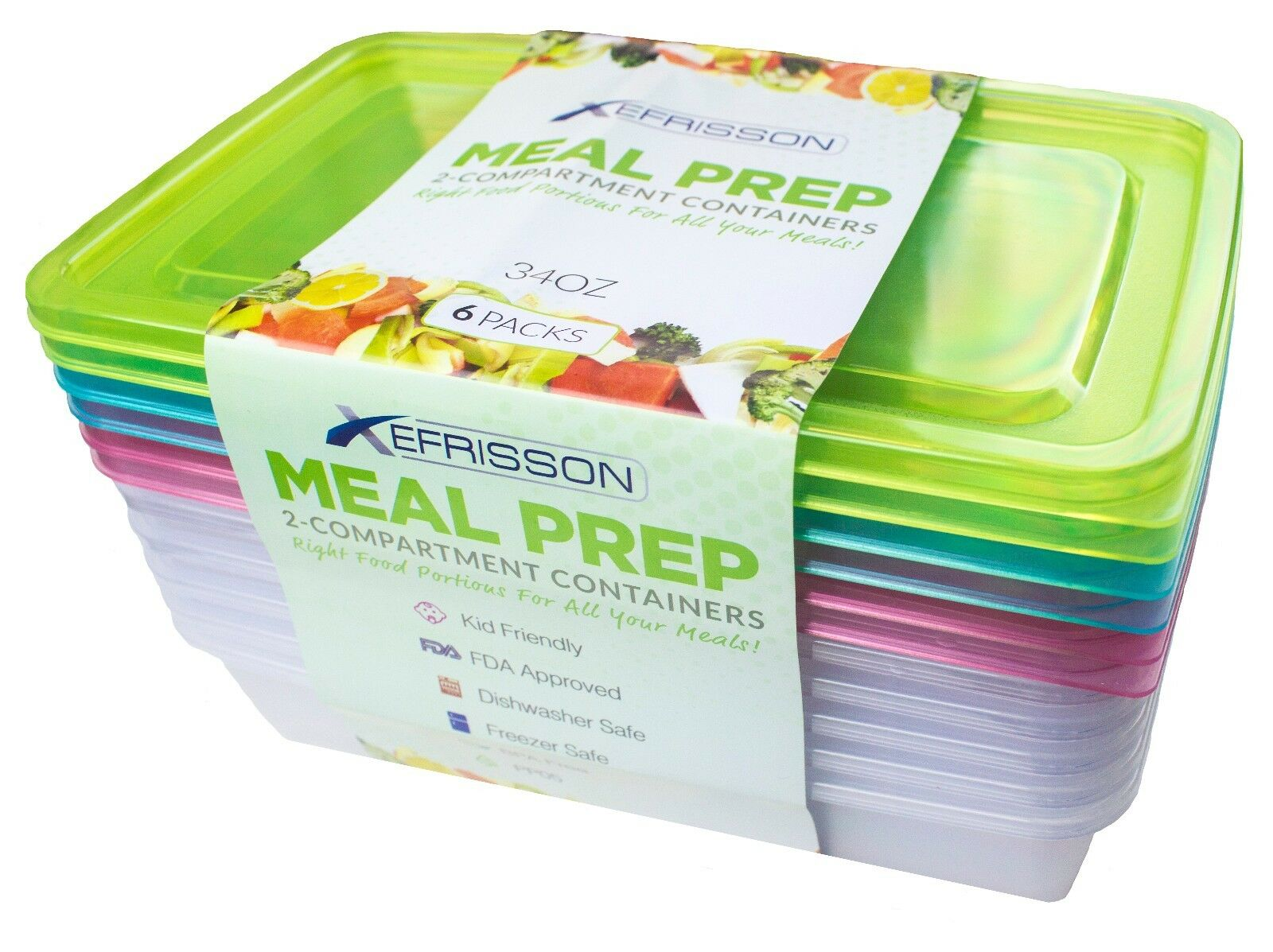 6-Pack Meal Prep Lunch Box Food Containers Set + Free Forks!!! 2