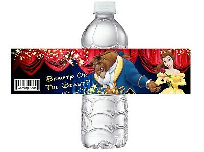 BEAUTY OR THE BEAST BABY GENDER REVEAL PARTY FAVORS WATER BOTTLE LABELS WRAPPERS - Gender Reveal Party Favors