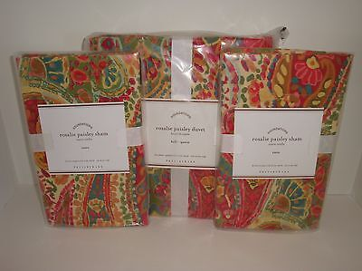 Pottery Barn Rosalie Paisley Full Queen Duvet Cover + Euro Shams Warm Red Multi on Lookza