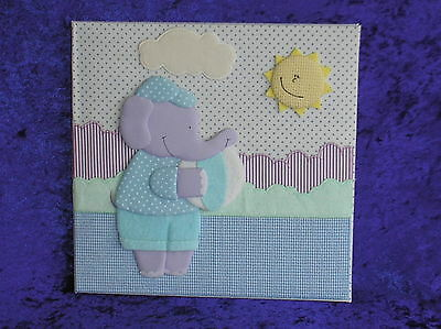 new baby first year record album, elephant.30 themed pages.in presentation  box.