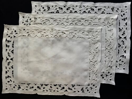 "Vintage Three White Linen Placemats  Madeira Embroidery 17"" x 12"" Floral Motif"