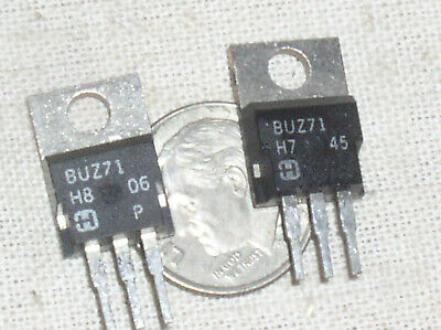 2 New Harris Buz71 Power N Mosfet Fet 14a 50v .1 Ohm To-220 Soa Safe Limited Usa