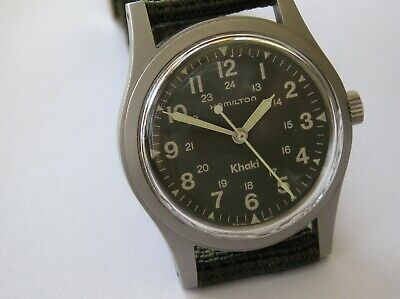 VINTAGE SWISS HAMILTON KHAKI  9415A MILITARY TYPE ETA 2801 MANUAL  WATCH 33MM