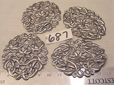 4 Vtg Fancy Oval filigree Floral Silver 60x48mm Jewelry Stampings Findings Craft