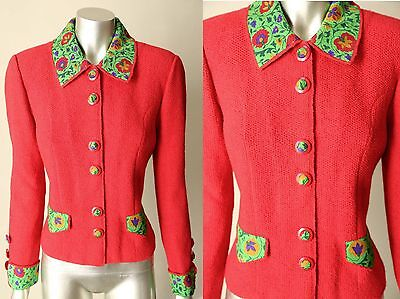 Neiman Marcus Lihli 100  Wool Deco Button Knit Red Green Vintage Sweater S   M