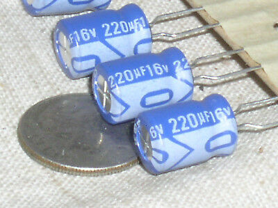 4 New Surge 220uf 16v 220 Mfd 16 V Radial Electrolytic Capacitor Cap 85c Usa