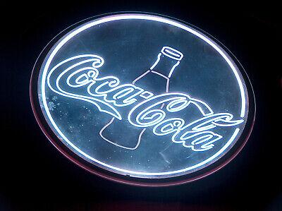 "Coca Cola Glass Coke Bottle 18"" Round Metal LED Neon Bar Pub Man Cave Light Sign"