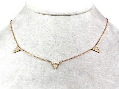 Diamond Triangle Necklace - 14k Rose  Gold Triangle Necklace with Diamond ( Dia  0.23cts)