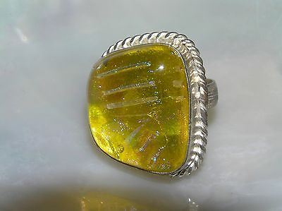 - Estate HUGE Yellow with Pink & Blue Fused Glass in Silvertone Setting Ring Size