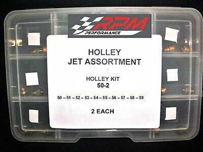 Holley Carburetor JET ASSORTMENT KIT 50 to 59 2 EACH 1/4-32 GAS MAIN 20PACK 50-2
