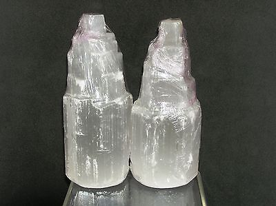 2 Selenite Peak Points Crystal Healing Stones  LIGHT  REIKI  Feng Shui  Metaphys