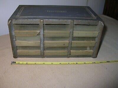 Vintage Rare Craftsman Metal Parts Bin 9 Drawer Storage Cabinet Box