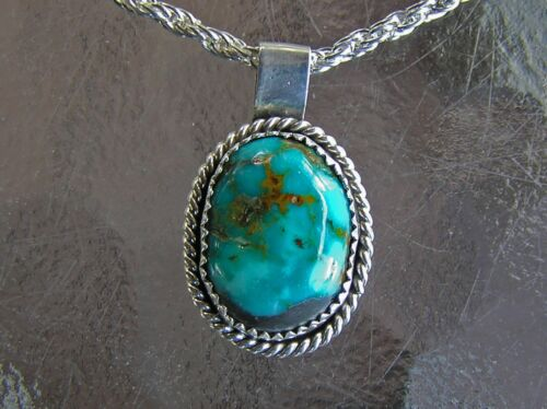 Gorgeous Navajo Indian Handmade Sterling Silver and Turquoise Pendant w/ Chain