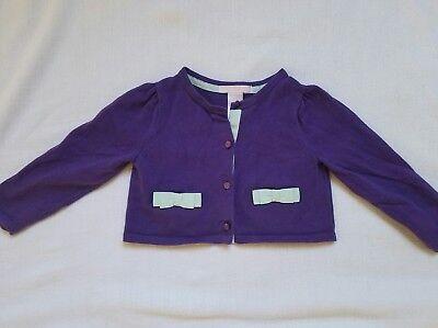 Janie & Jack Garden Picnic Purple Crop Sweater Cardigan ~ 18-24 VGUC