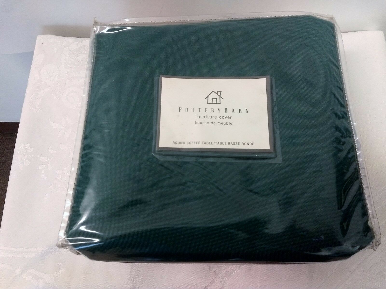 Photo Pottery Barn Furniture Table Cover Protector Round Dk Green NIP