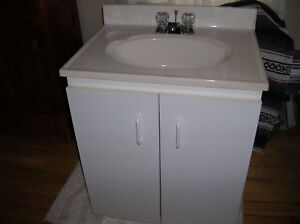 White Bathroom Cabinet with sink and taps