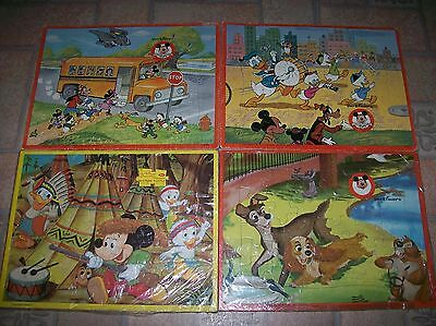 4 Vintage Walt Disney Prod. Mickey Mouse/Donald Duck Club Frame Tray Puzzles