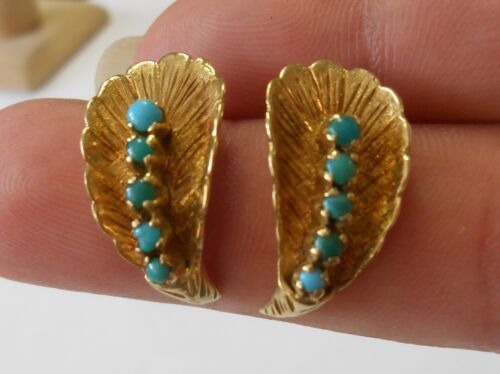 Vintage 18K Yellow Gold Cabochon Turquoise Post Earrings Leaf Shape 20 mm