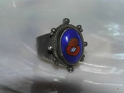 - Vintage Unmarked Silver with Blue & Red Oval Ceramic or Fused Glass Ring Size 7