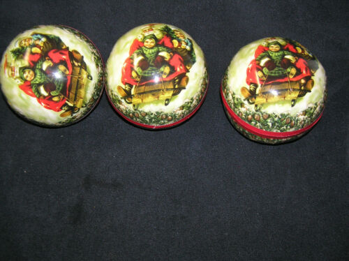 Lot of 3 Paper Mache Christmas Candy Container Ball Germany Santa Children Sled