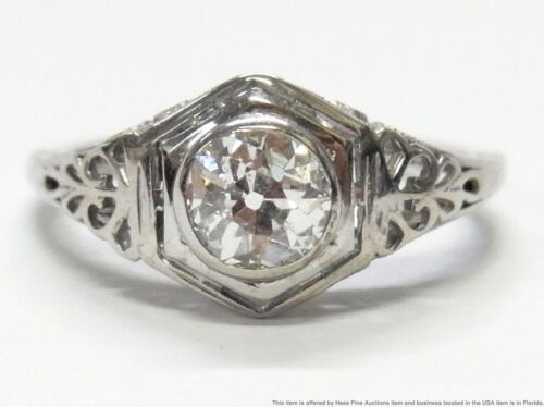 GIA 0.66ct Old Mine Cut Diamond K SI2 Ring 18k White Gold Filigree Antique Sz 6