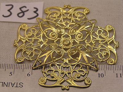 Vtg Fancy filigree Brass 62mm Bendable Open work Jewelry Findings Haskell Look