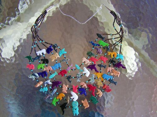 """5 Strand Navajo Indian Fetish Necklace """"Larger Carvings"""" Turquoise, Coral, More"""