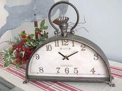 Metal MANTEL Clock ~Table Clock~Half round~Farmhouse~Raz Imports