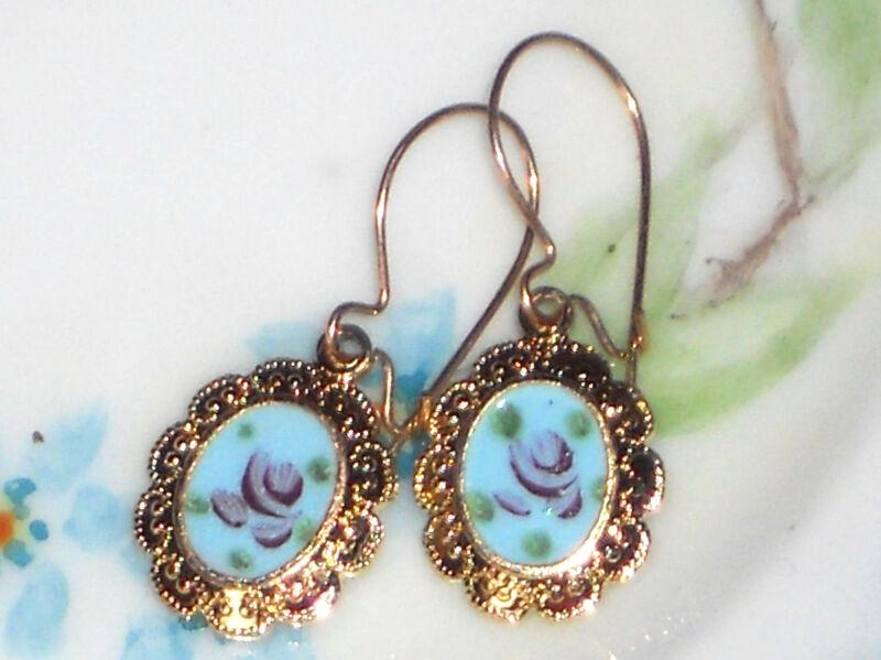 #1494G Vintage Earrings Guilloche Enamel Floral Gold Plated Ornate Dangle Blue