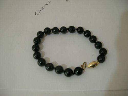 Vintage 14k Gold Freshwater Black Pearl Bracelet