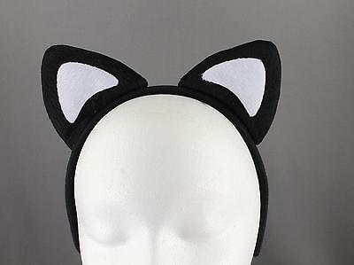 Black White soft faux fur furry cat kitten ears headband hair band costume](White Cat Ears)