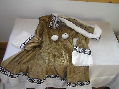 Gently Used Kid's Size 6/7 Brown & Cream Velour Laplander Eskimo Halloween Theat