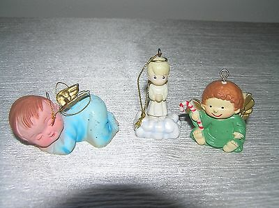 Vintage Lot of 3 Small Plastic Precious Moments & Not Cute Angel Christmas Tree