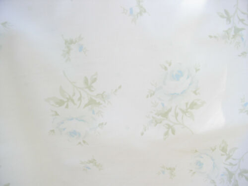 Chic House Inc Faded Blue Shabby Cabbage Roses on White Cotton Poplin Fabric