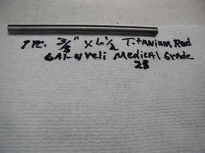 38 Titanium Round Rod Bar 6 Al-4veli  1 Pc. 6 12 Long Medical Grade 23