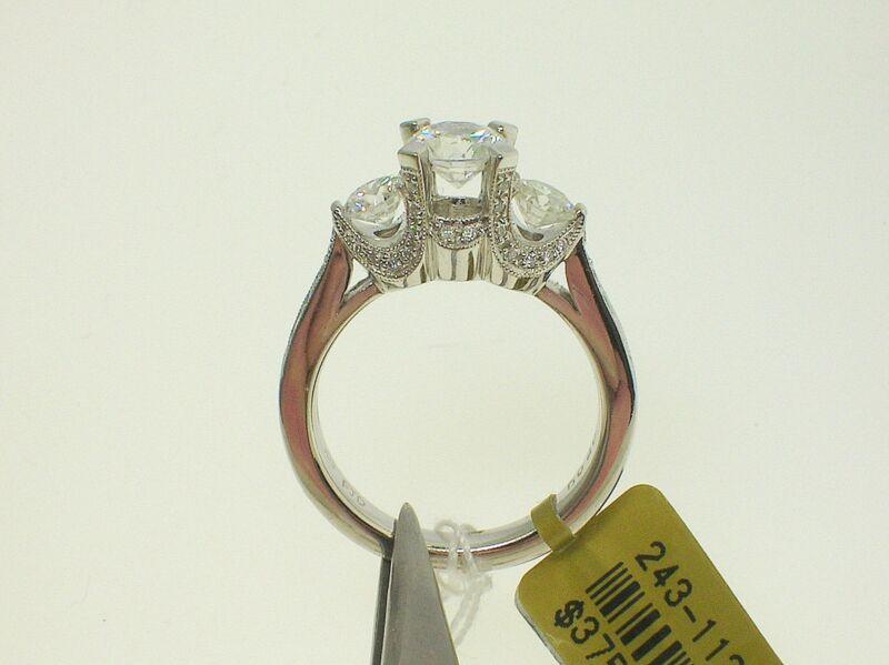 Quality 18k White Gold Semi-mounting 0.82ctw Diamonds - 6.75 Us - Retail $3750