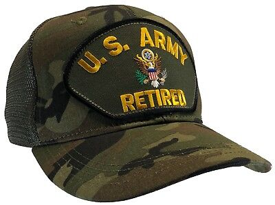 U.S. Army RETIRED Hat CAMO MESH BACK Ball Cap