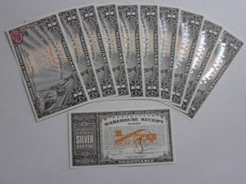 10 - $1 Liberty Dollar Silver Certificates - New, Uncirculated! - # In Sequence