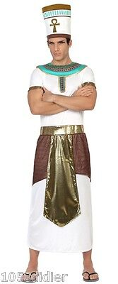 Costume Uomo Faraone Bianco XL Abito Adulto Re D'Egitto Ramses egiziano