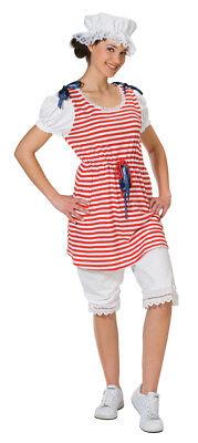 Rot Weiß Kleid Kostüm (Karneval Damen Kostüm Badekleid rot-weiß gestreift Fasching)