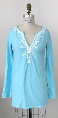 Blue V-neck Top (Lilly Pulitzer Westley V-Neck Tunic Top Spa Blue Cotton Size M)