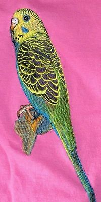 Large Embroidered Zippered Tote - Green Budgie BT4637
