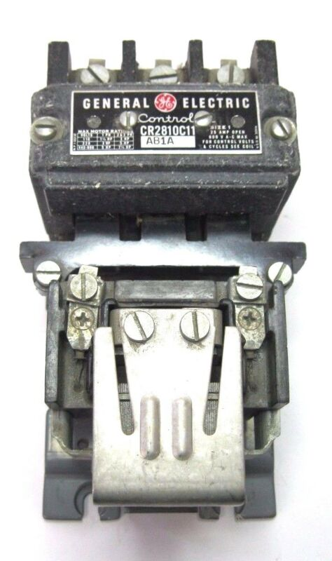 GE GENERAL ELECTRIC MOTOR CONTACTOR CR2810C11 25 AMP SIZE 1 OPEN CR2810B11AB1A
