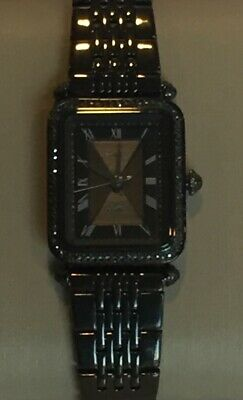 Fossil Lyric Watch ES4722 Black Crystals Rectangle Face