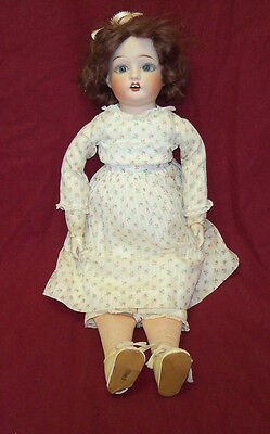 "Antique 17"" Fulper Doll Bisque Head Composition Hands Cloth Body Doll 1918-1921"