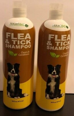 (2) NATURE'S BEST FLEA and TICK DOG SHAMPOO-Conditions, Itch relief 16