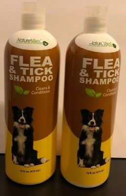 (2) NATURE'S BEST FLEA and TICK DOG SHAMPOO-Conditions, Itch relief 16 oz