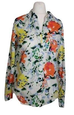 GAP Multicoloured Vintage 90's Cotton White  Floral Ladies Shirt size 12UK