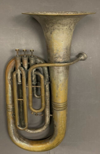 "Vintage 3 Valve Baritone Brass Horn marked, ""King H N White Cleveland Ohio"""
